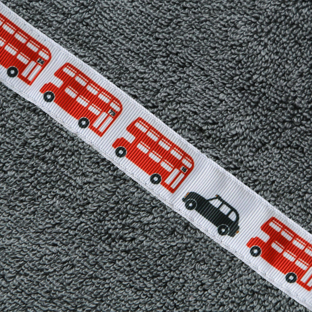 Children's grey hooded towel with London Buses trim