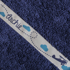 Children's hooded towel with personalised Areoplanes trim