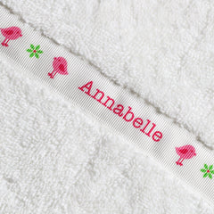 Children's white hooded towel with personalised Birds trim - Annabelle