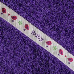 Children's purple hooded towel with personalised Birds trim - Ruby