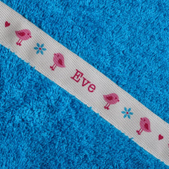Children's turquoise hooded towel with personalised Birds trim- Eve