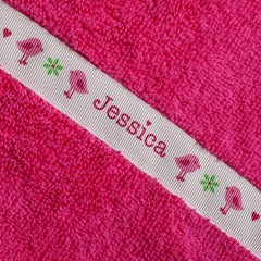 Children's hooded towel with personalised Birds trim