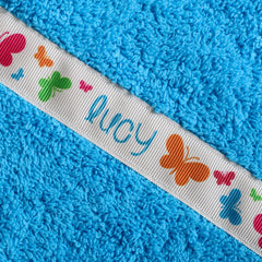 Children's turquoise hooded towel with personalised Butterflies trim- Lucy