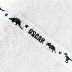 White hooded towel with personalised Dinosaurs trim - Osccar