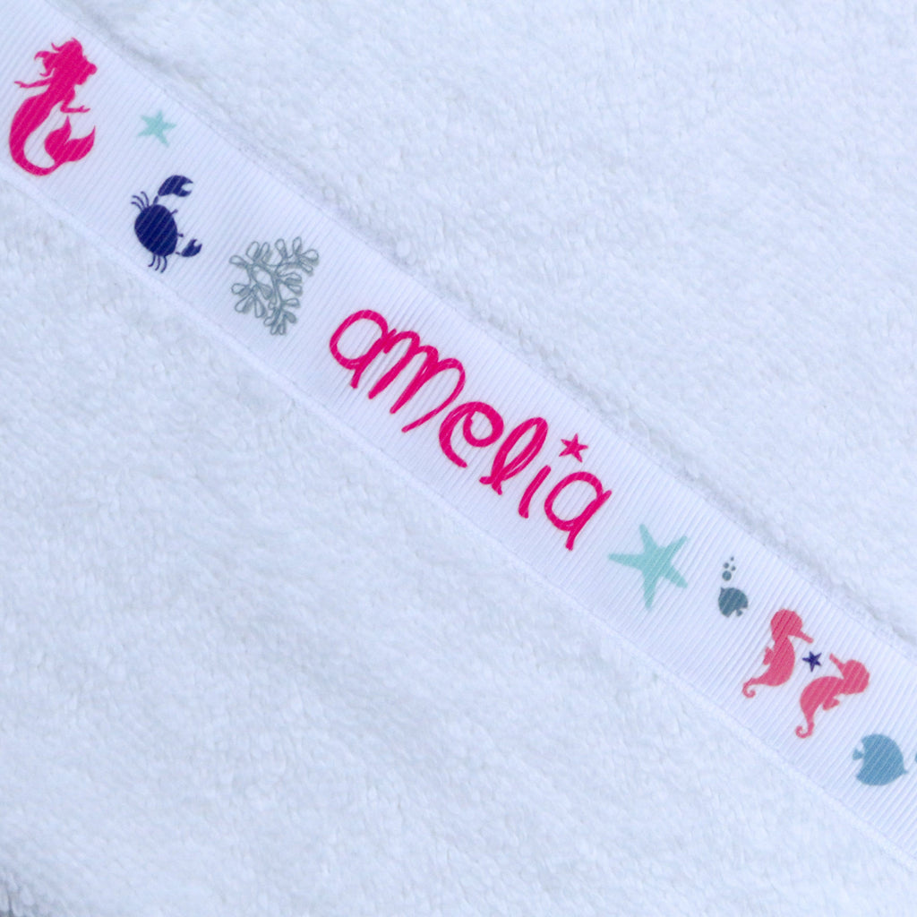 Children's white hooded towel with personalised Mermaids trim - Amelia