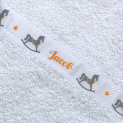 Children's white hooded towel with personalised Rocking Horse trim - Jacob