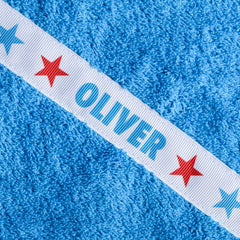 Children's turquoise hooded towel with personalised Stars trim - Oliver