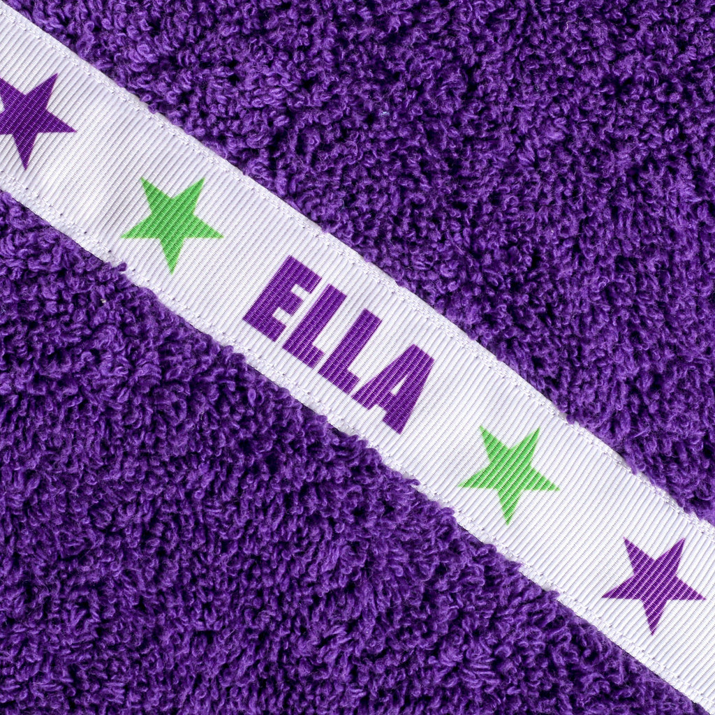 Children's turquoise hooded towel with personalised Stars trim - Ella