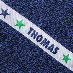 Children's navy blue hooded towel with personalised Stars trim - Thomas