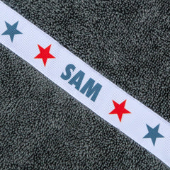 Children's grey hooded towel with personalised Stars trim - Sam