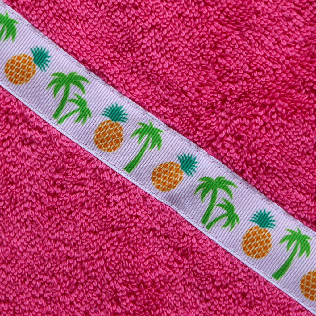 Children's jumbo pink hooded towel with Pineapples trim