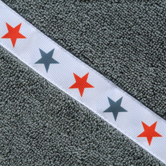 Children's jumbo grey hooded towel with Red Stars trim