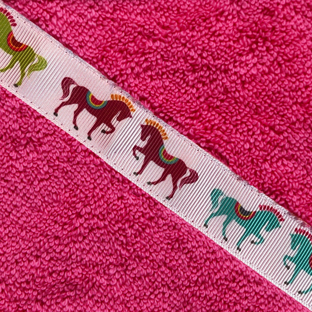 *PRE-ORDER* Dancing horses hooded towel (Jumbo, pink). Dispatch in 4 weeks