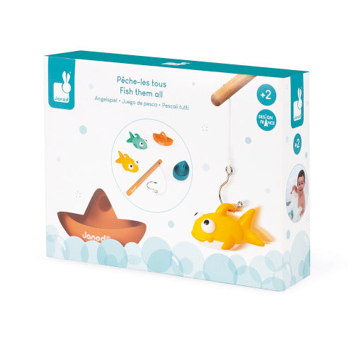 Fish-them-all bath toy game shown in its packaging