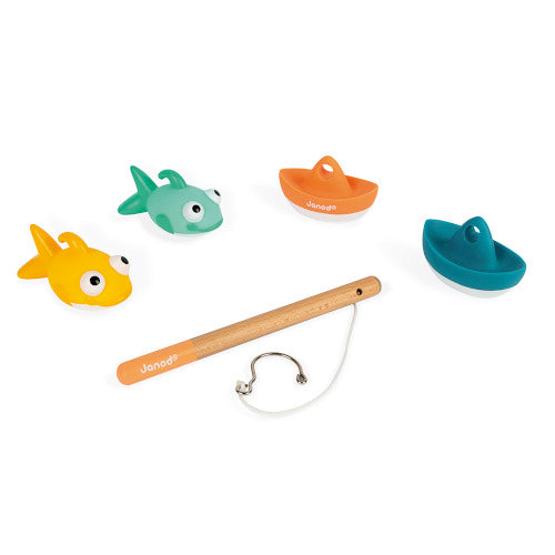image of two fish, two boats and a fishing rod - contents of the Fish-them-all bath toy