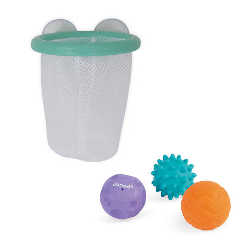 Tacti Basket Ball Bath Toy set showing net with suction and three sensory balls
