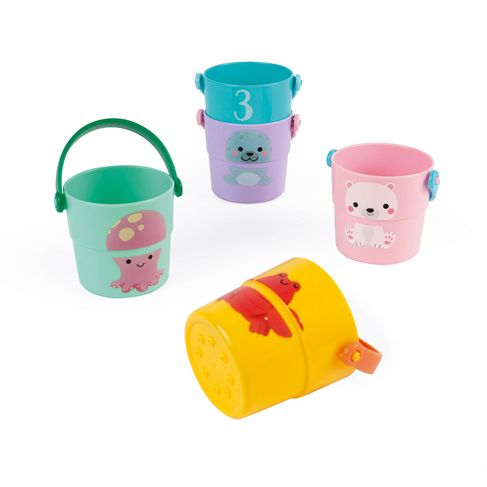 Activity Buckets bath toy shown in detail