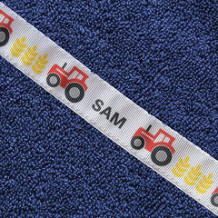 """Sam"" personalised tractors hooded towel (Standard)"