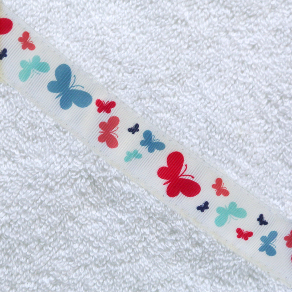 Hooded Towel - Butterflies Hooded Towel (Jumbo White)