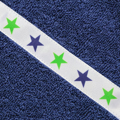 Close up of the Green Stars trim on a navy blue hooded towel