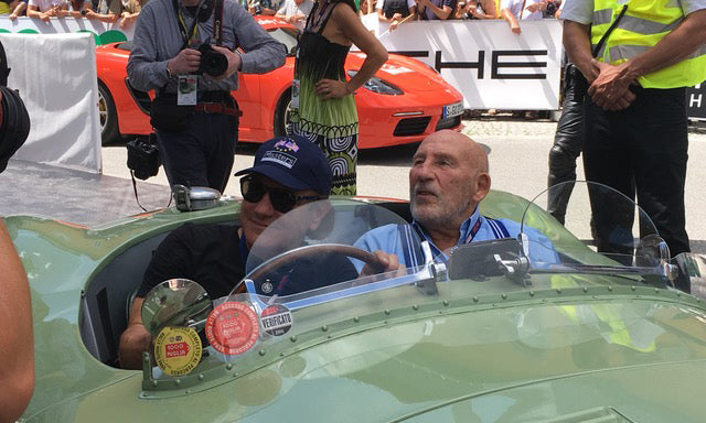 Stirling Moss with ACDC lead singer Brian Johnson