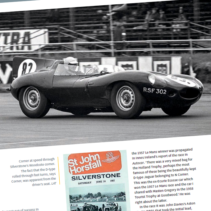 Jaguar D-type racing at Silverstone