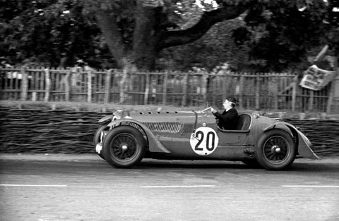 Rob Walker, racing driver, in command of his Delahaye 135 during the 1939 Le Mans 24 Hours