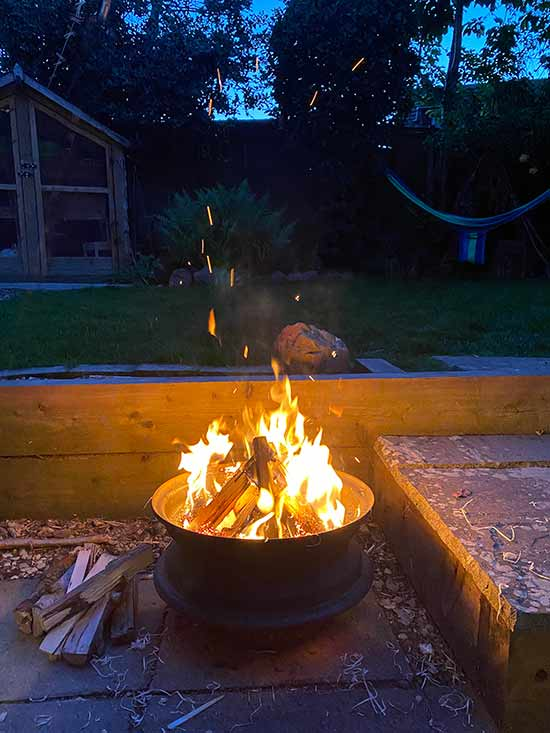 Recycled car parts turned into garden fire pit