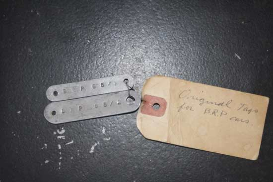 Original tags for the cars