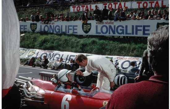 Yves Montand in the 'Ferrari' at Clermont-Ferrand