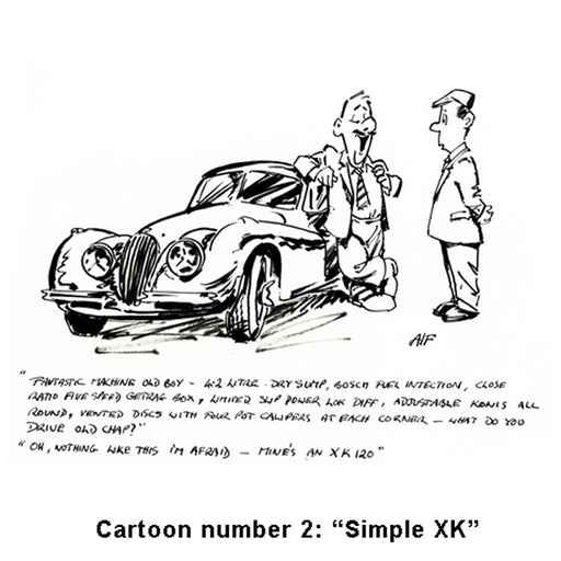 Motoring art cartoon - classic XK