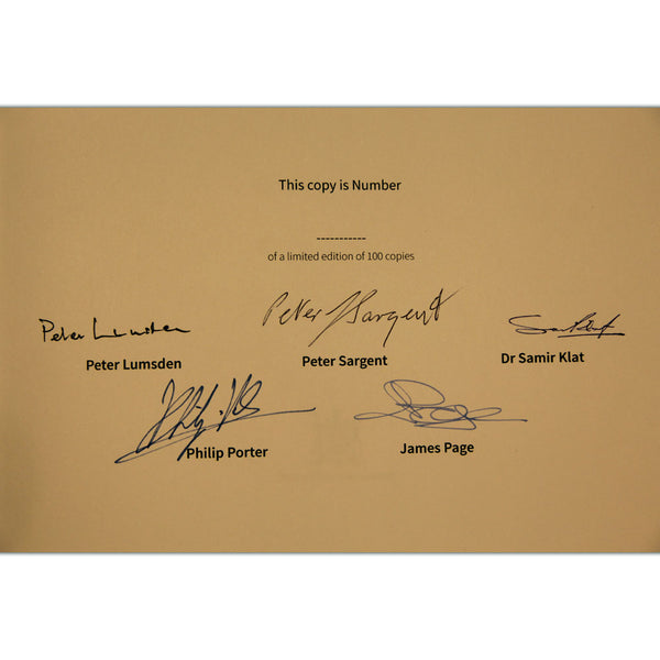 Peter Lumsden, Peter Sargent, Dr Samir Klat, James Page and Philip Porter signature