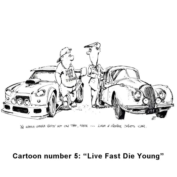 Alan Fearnley artist book - cartoon - Live Fast, Die Young