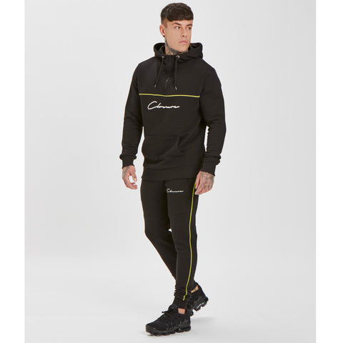 Neon Piped 1/4 Zip Hoody - Black