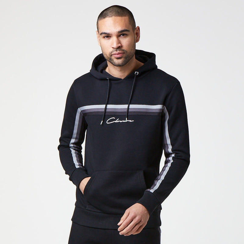 Tonal Striped Taped Hoody | Black