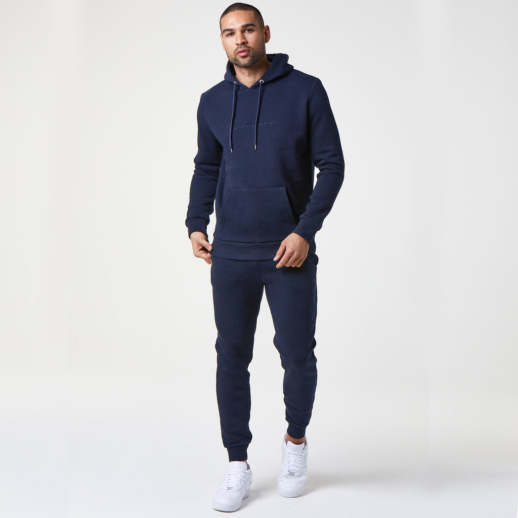 Tonal Embroidered Hoody | Navy