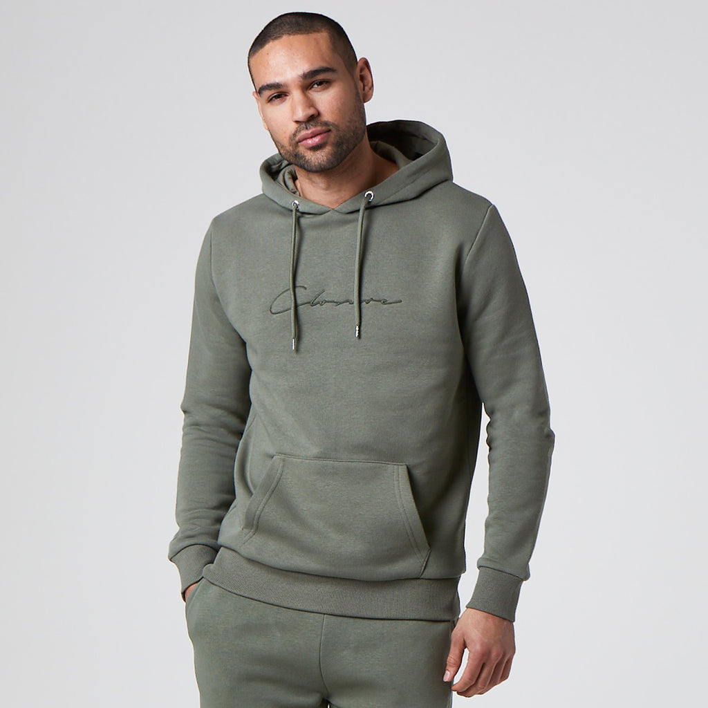 Tonal Embroidered Hoody | Khaki
