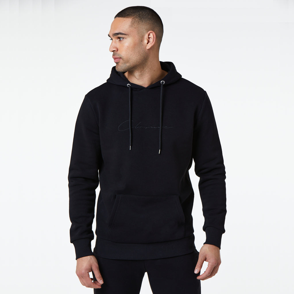 Tonal Embroidered Hoody | Black