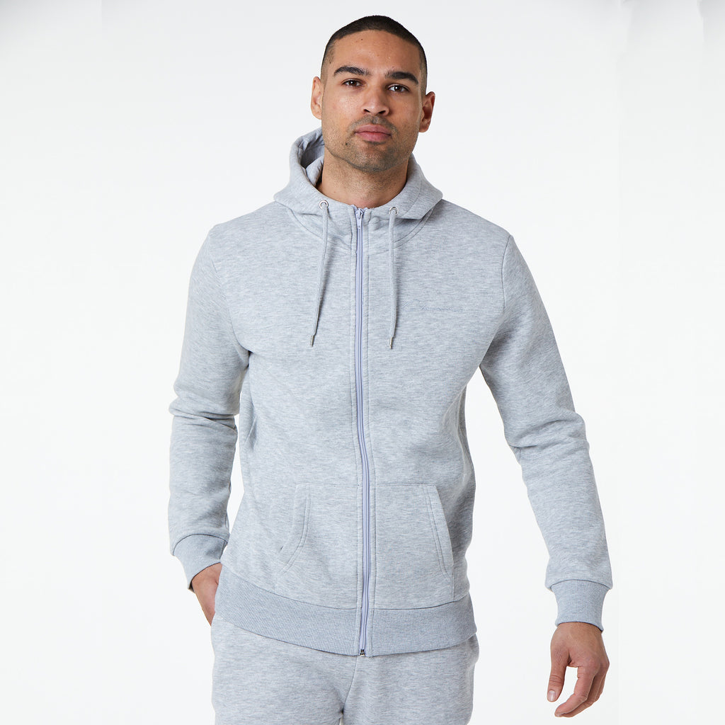 Tonal Embroidered Zip Through Hoody | Light Grey Marl