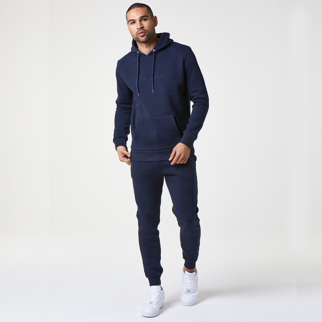 Tonal Embroidered Jogger | Navy