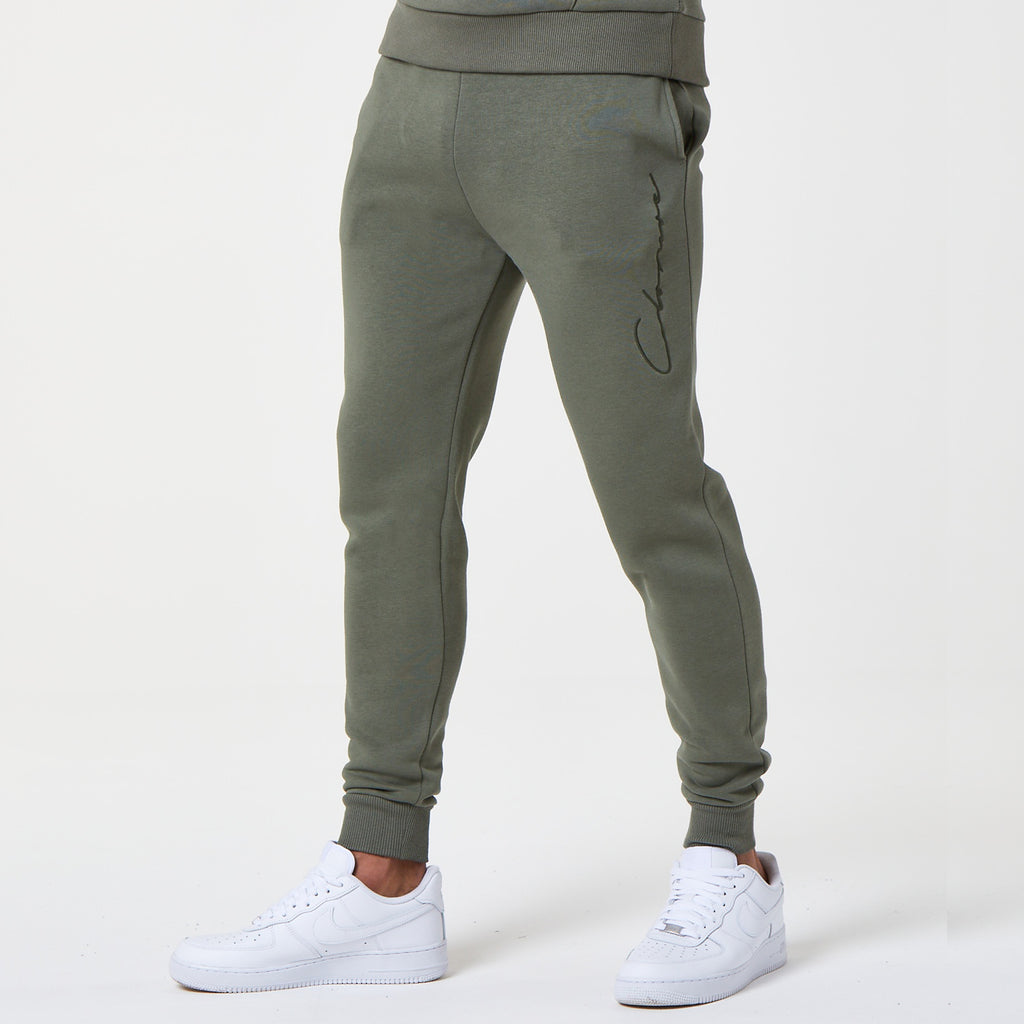 Tonal Embroidered Jogger | Khaki