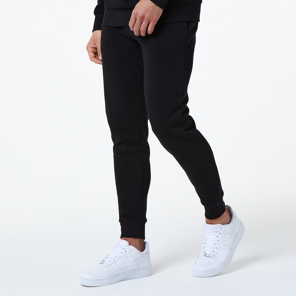 Tonal Embroidered Jogger | Black
