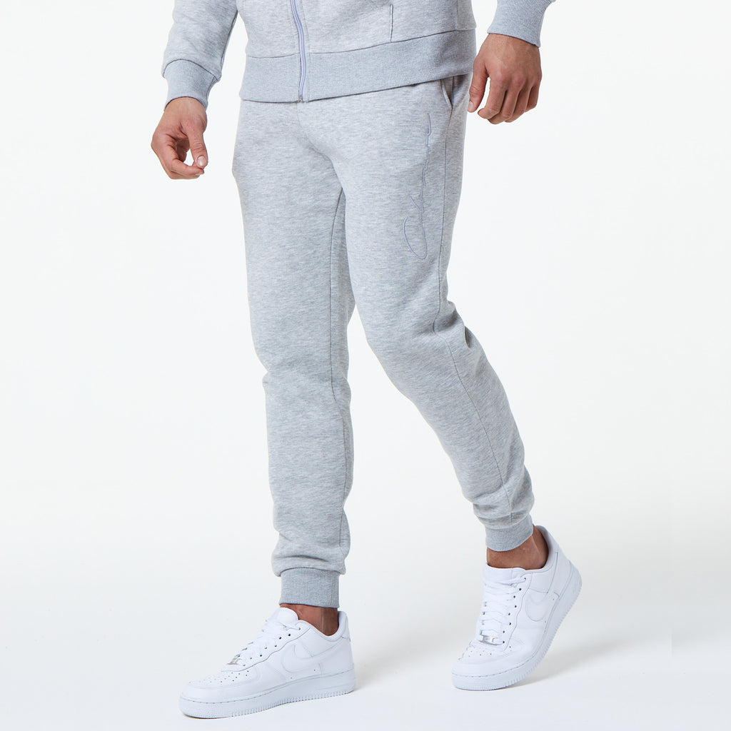 Tonal Embroidered Jogger | Light Grey Marl