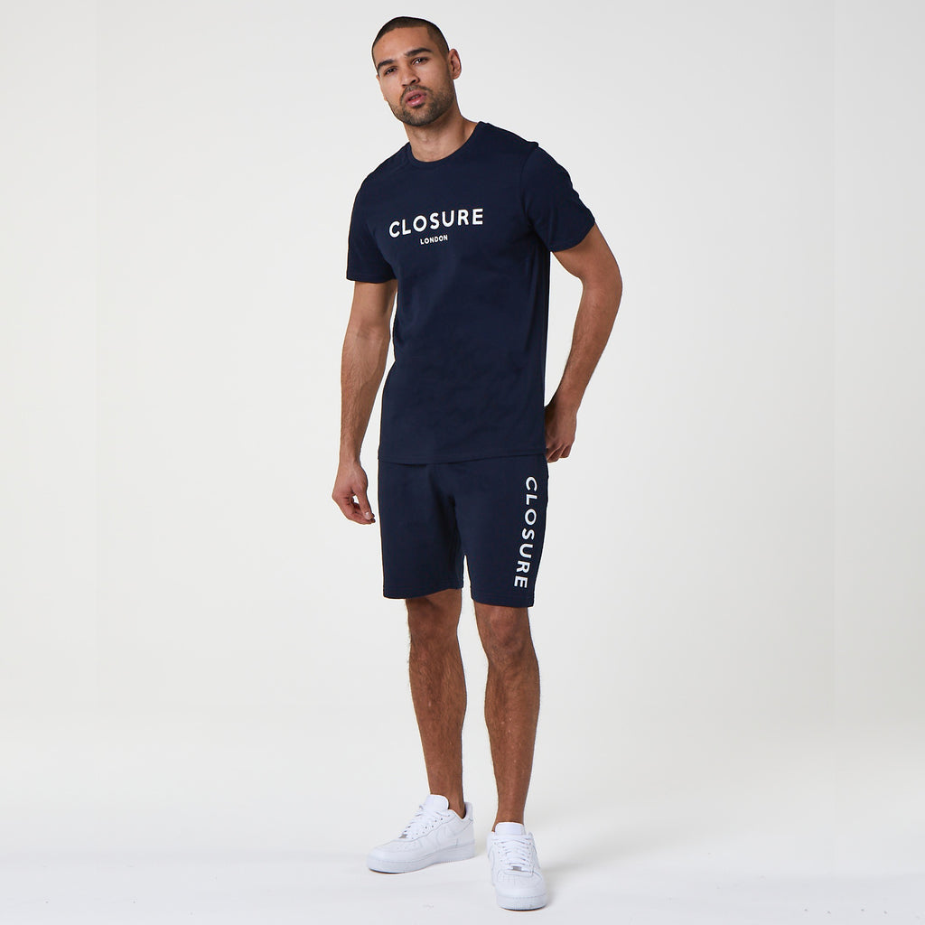 Block Logo Tee/Short Set | Navy