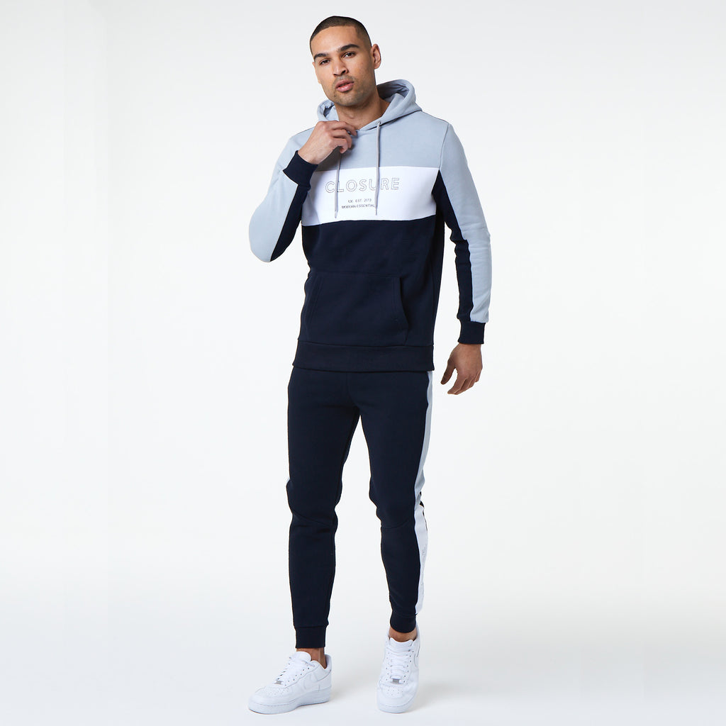 Panelled Logo Block Hoody | Navy
