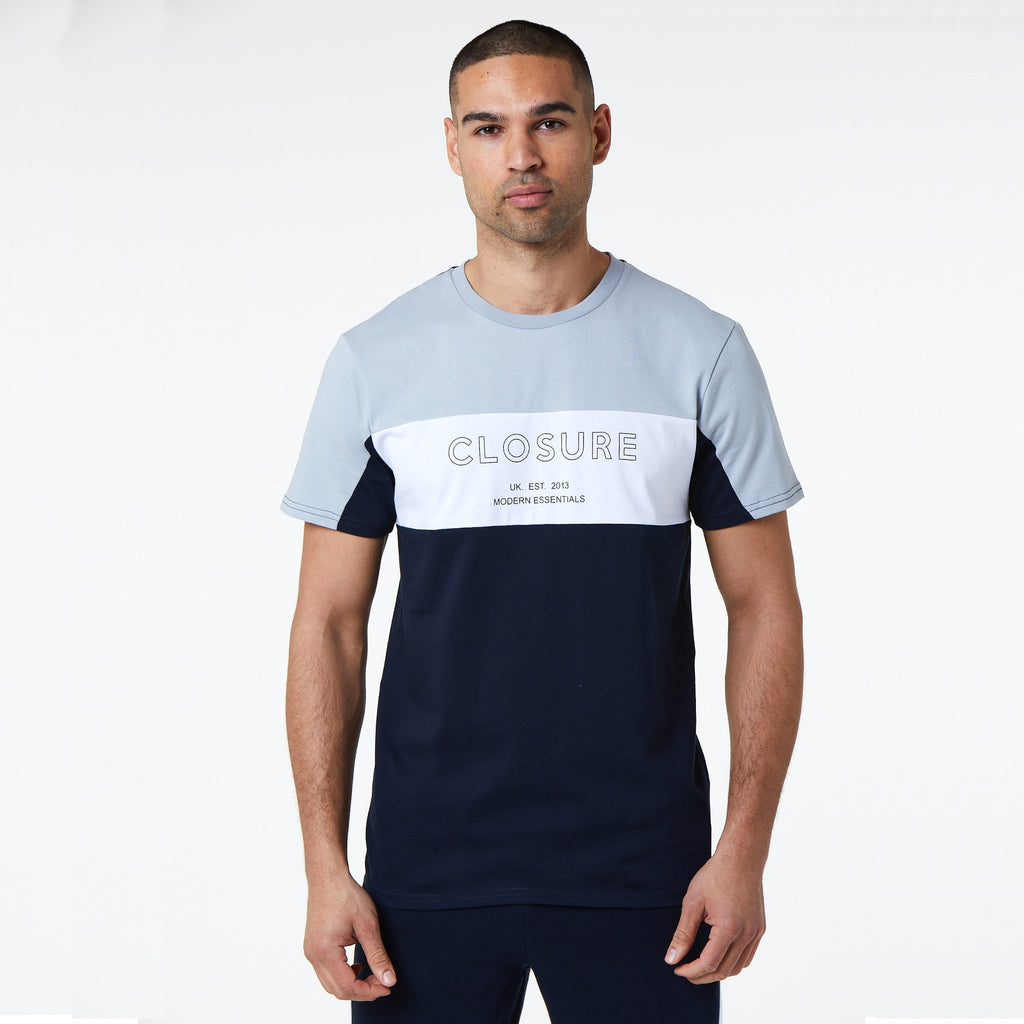 Panelled Logo Block Tee | Navy