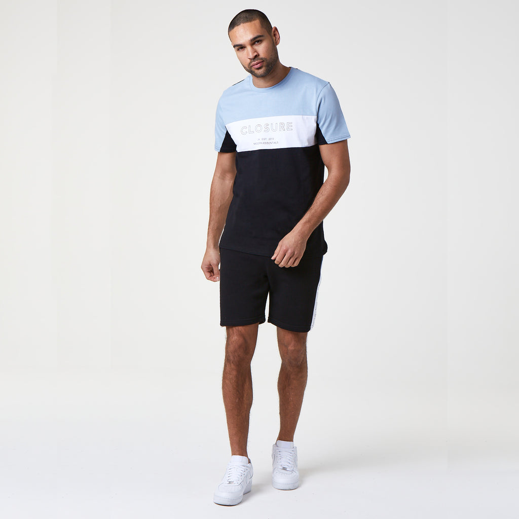Panelled Logo Block Short | Black