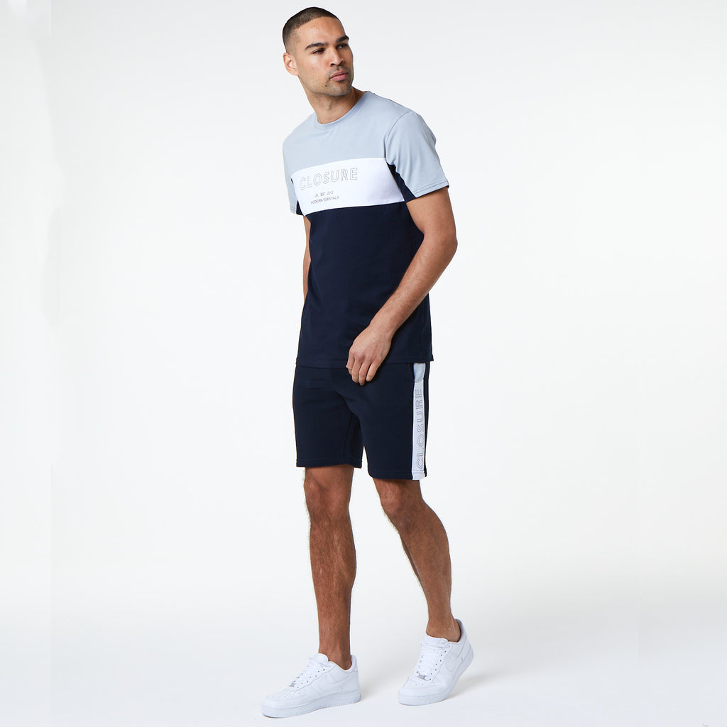 Panelled Logo Block Short | Navy