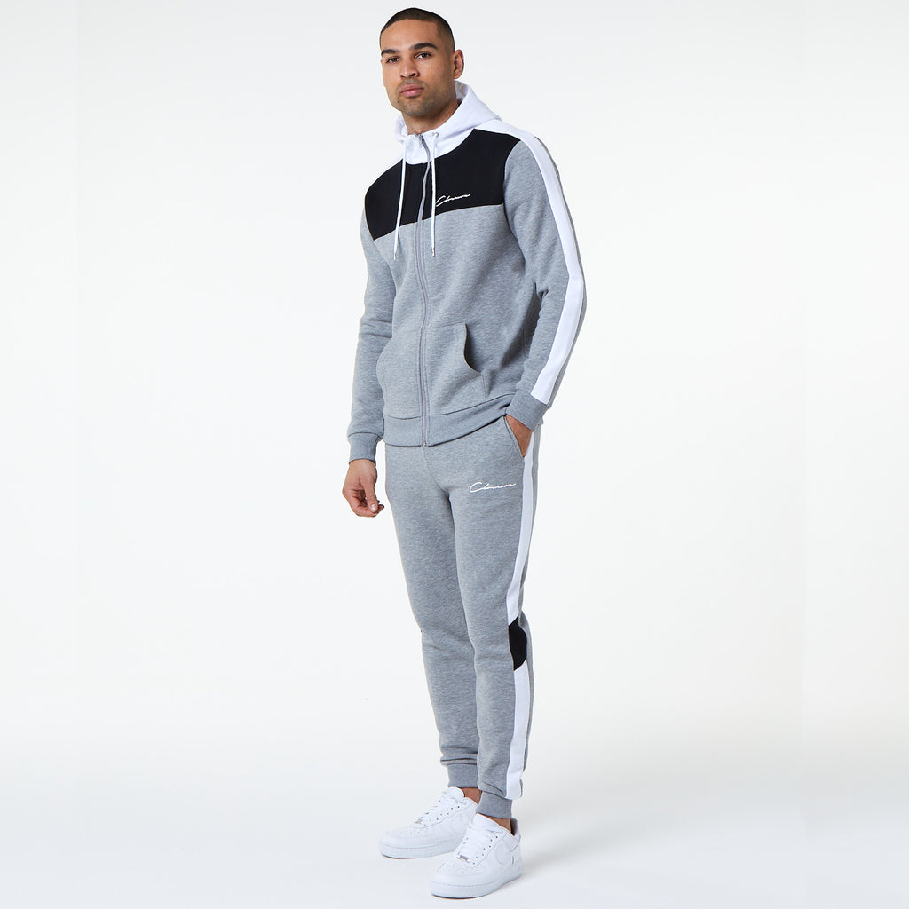 Multi Panel Zip Through Hoody | Grey Marl