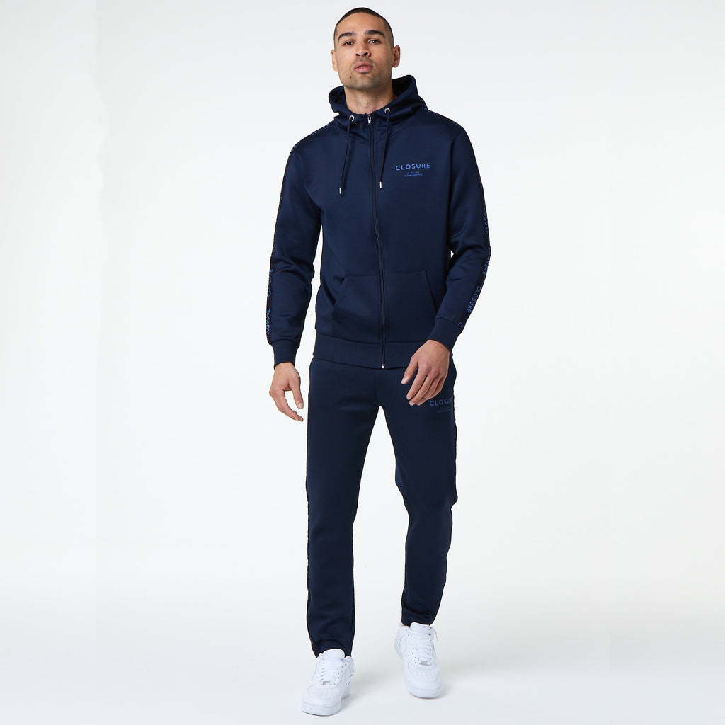 Poly Taped Zip Through Hoody | Navy